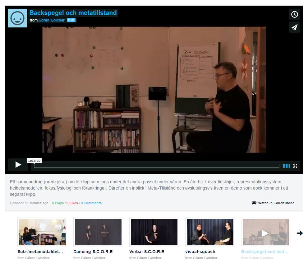 En bild av mig i ett filmklipp där jag utbildar i NLP. En aktivitet jag hoppas kunna leverera i realtid via strömmande video inom det närmaste året.